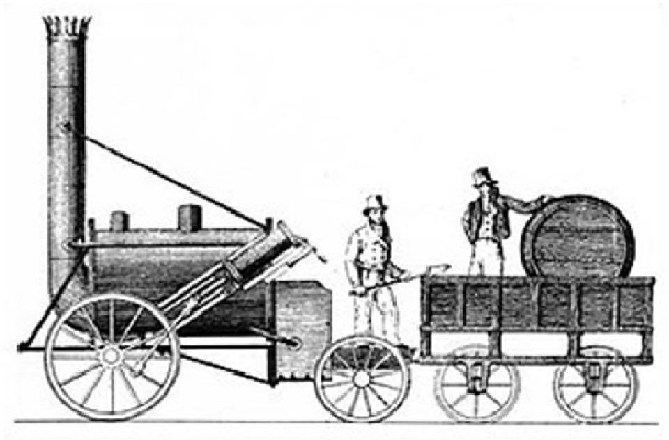 Lokomotif Rocket yang dikembangakan oleh George Stephenson