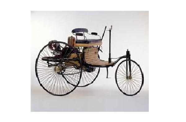 Kendaraan beroda 3 bermesin bensin hasil penegembangan oleh Carl Benz tahun 1886
