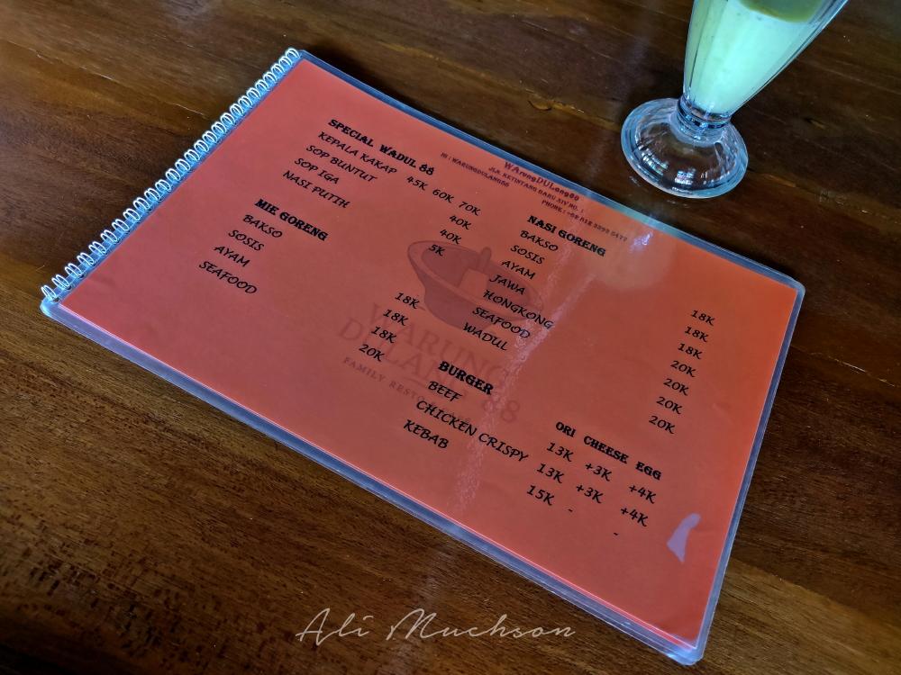 Warung Dulang 88, Family Resto & Cafe - Daftar menu